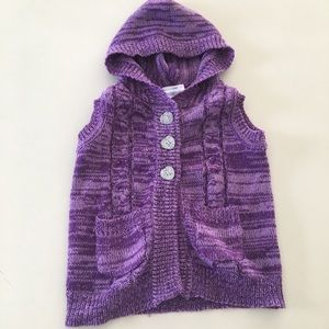 Small Wonders Marled Knit Vest Hooded Heart 6-9